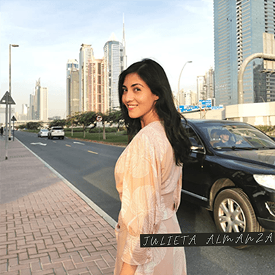 Julieta Almanza Albex along street of Dubai