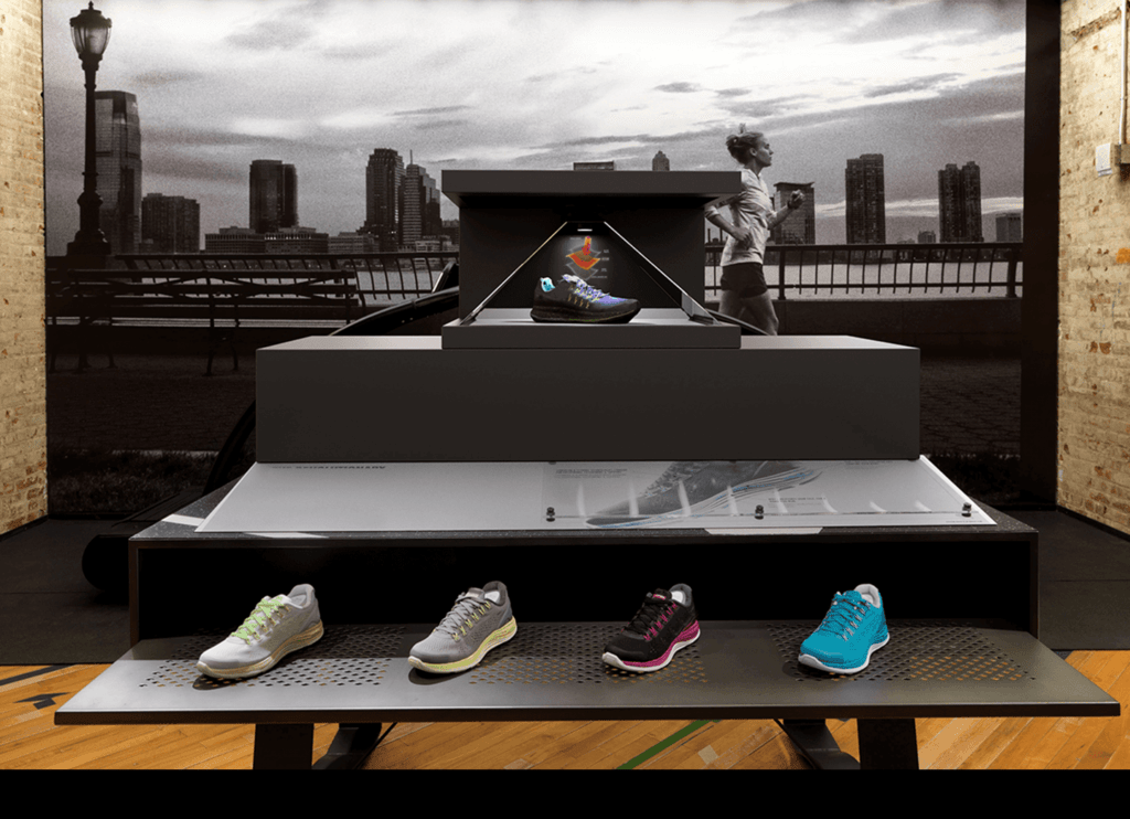 RealFiction hologram on rubber shoes display